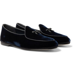Rubinacci Marphy Leather-Trimmed Velvet Tassled Loafers