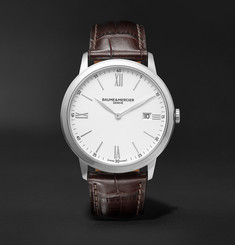 Baume & Mercier Classima Quartz 40mm Steel and Croc-Effect Leather Watch, Ref. No. M0A10507