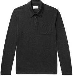 Mr P. Mélange Wool-Jersey Polo Shirt