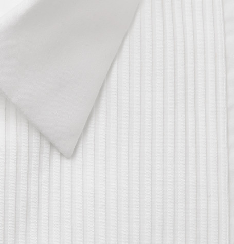 Giorgio Armani T-shirts WHITE BIB-FRONT DOUBLE-CUFF COTTON-POPLIN TUXEDO SHIRT