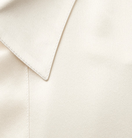Giorgio Armani T-shirts CREAM MULBERRY SILK-SATIN TUXEDO SHIRT