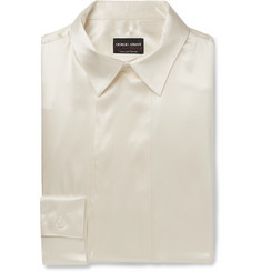 Giorgio Armani Cream Mulberry Silk-Satin Tuxedo Shirt