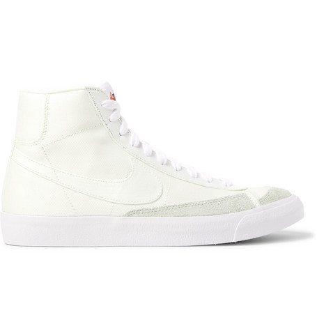 Nike Blazer Mid '77 Suede-Trimmed Canvas Sneakers