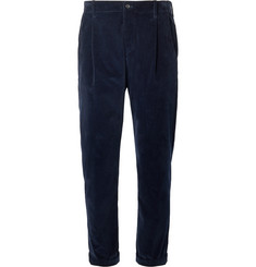 Connolly + Goodwood Tapered Pleated Cotton-Corduroy Trousers