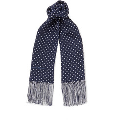 Connolly + Goodwood Fringed Polka-Dot Silk Scarf