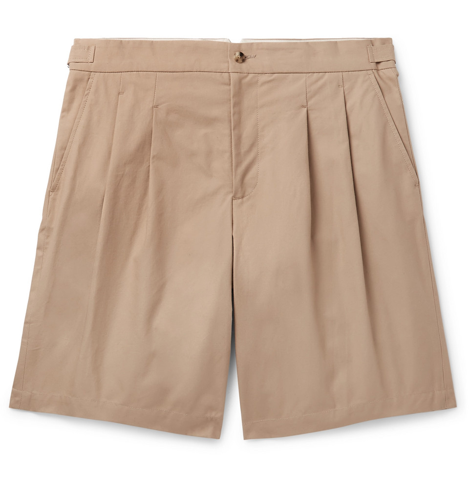 Pleated Brushed-cotton Bermuda Shorts - Brown