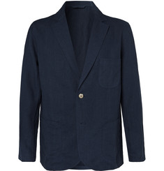 De Bonne Facture - Navy Brushed-Linen Suit Jacket
