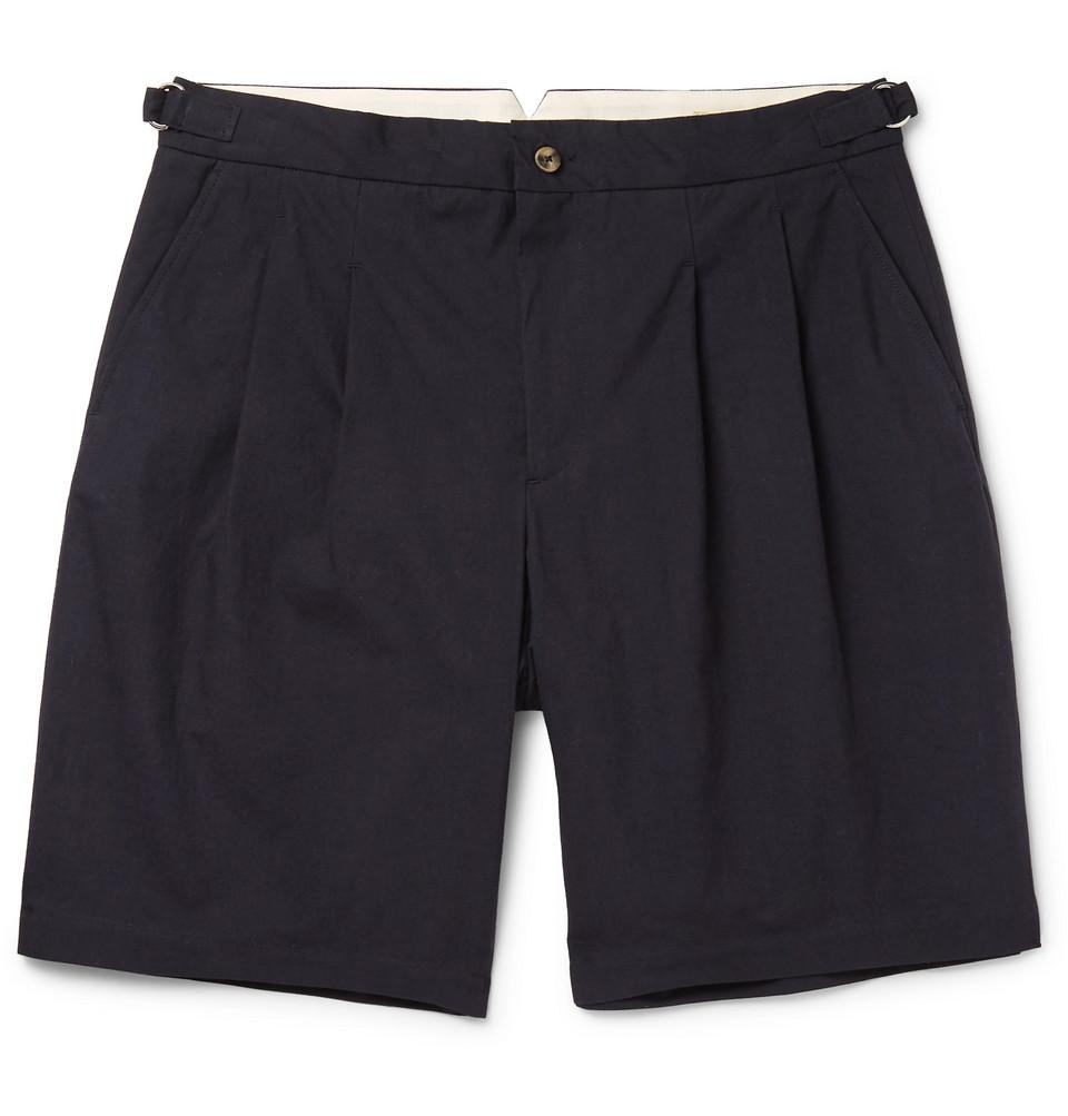 Pleated Brushed-cotton Shorts - Navy