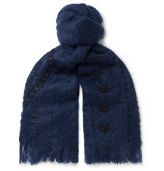 Jupe by Jackie Awamu Fringed Embroidered Mohair Scarf