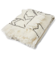 Jupe by Jackie Awamu Fringed Embroidered Mohair Blanket