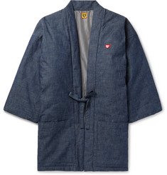 Human Made Padded Logo-Print Cotton-Chambray Jacket