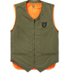 Human Made Faux Fur-Lined Logo-Print Cotton-Blend Gilet