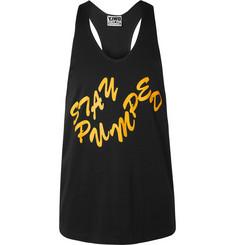 Printed Cotton-jersey Tank Top - Black