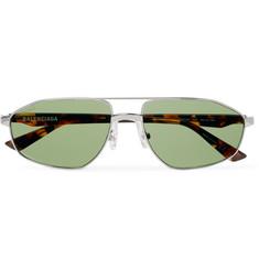 Aviator-style Silver-tone And Tortoiseshell Acetate Sunglasses - Silver