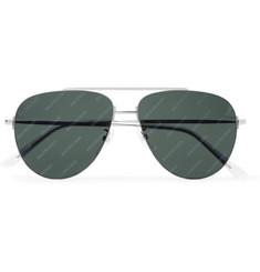 발렌시아가 Balenciaga Aviator-Style Logo-Print Silver-Tone Sunglasses,Silver