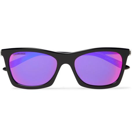 BALENCIAGA   Balenciaga - D-Frame Acetate And Silver-Tone Mirrored Sunglasses - Black   Goxip