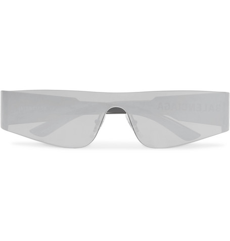 Balenciaga Mono Rectangle-Frame Nylon Mirrored Sunglasses