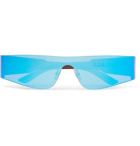 BALENCIAGA   Balenciaga - Mono Rectangle-Frame Nylon Mirrored Sunglasses - Bright Blue   Goxip