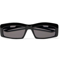 발렌시아가 Balenciaga Rectangle-Frame Rubber-Trimmed Acetate Sunglasses,Black