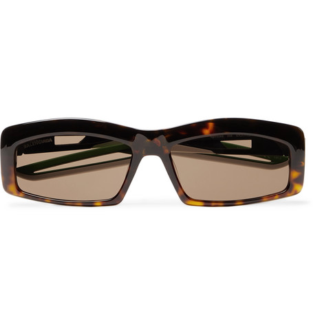 Balenciaga Rectangle-Frame Tortoiseshell Acetate Sunglasses