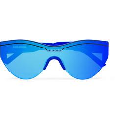 발렌시아가 Balenciaga Round-Frame Acetate Mirrored Sunglasses,Cobalt blue