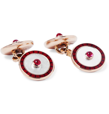 Deakin & Francis 18-Karat Gold, Mother-of-Pearl, Ruby and Enamel Cufflinks