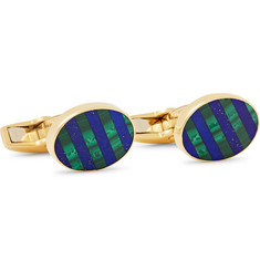 Deakin & Francis 18-Karat Gold, Malachite and Lapis Lazuli Cufflinks