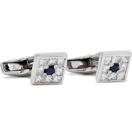 Deakin & Francis 18-Karat White Gold, Diamond and Sapphire Cufflinks