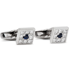 Deakin & Francis - 18-Karat White Gold, Diamond and Sapphire Cufflinks
