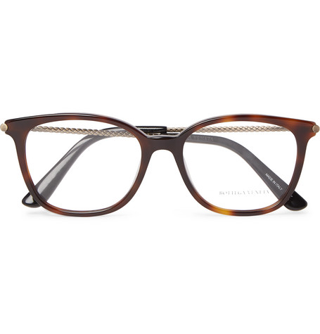 D Frame Tortoiseshell Acetate And Burnished Gold Tone Optical Glasses by Bottega Veneta