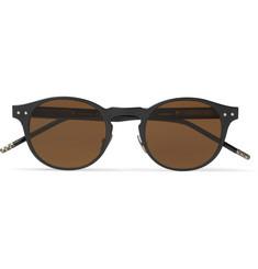 Round-frame Coated-aluminium And Acetate Sunglasses - Black