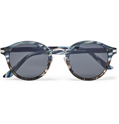 Cartier Eyewear Round-Frame Acetate and Silver-Tone Sunglasses