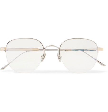 6b50cdd842ff Cartier Eyewear - Round-Frame Silver and Gold-Tone Optical Glasses