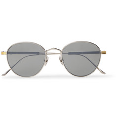 Cartier Eyewear Signature C De Cartier Round-Frame Silver and Gold-Tone Titanium Polarised Sunglasses
