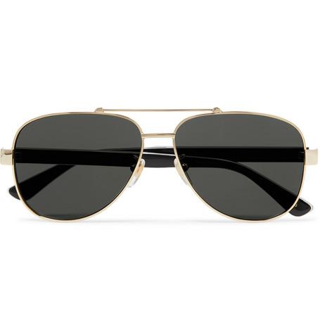 GUCCI | Gucci - Aviator-Style Gold-Tone And Acetate Sunglasses - Gold | Goxip