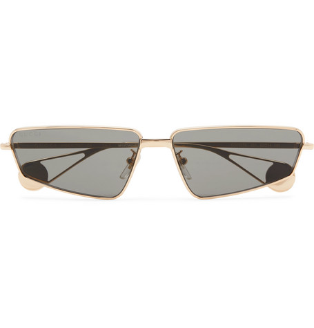 Gucci Rectangle-Frame Gold-Tone Sunglasses