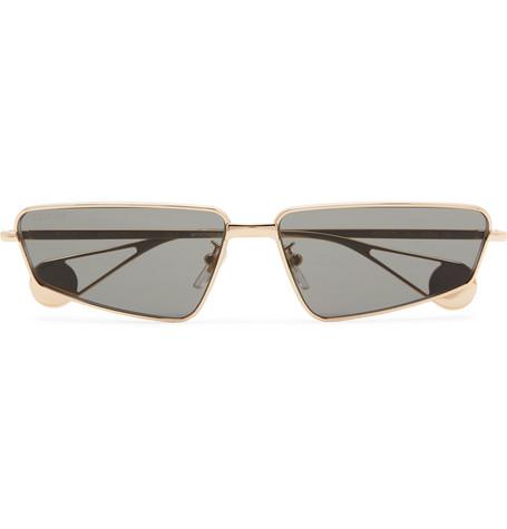 GUCCI | Gucci - Rectangle-Frame Gold-Tone Sunglasses - Gold | Goxip