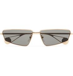 구찌 Gucci Rectangle-Frame Gold-Tone Sunglasses,Gold
