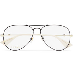Gucci Aviator-Style Black and Gold-Tone Optical Glasses