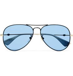 구찌 Gucci Aviator-Style Black and Gold-Tone Sunglasses,Black