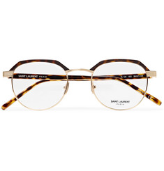 Saint Laurent Round-Frame Tortoiseshell Acetate and Gold-Tone Optical Glasses