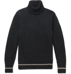 Massimo Alba Contrast-Tipped Ribbed Wool Rollneck Sweater