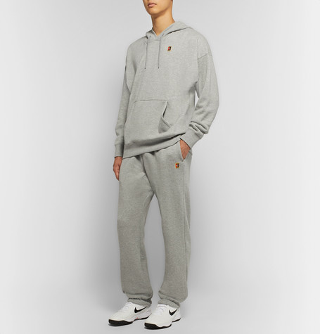 Nike Court Loopback Cotton-Jersey Sweatpants In Gray
