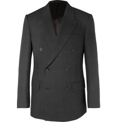 Kingsman Grey Slim-Fit Double-Breasted Prince of Wales Checked Wool Suit Jacket