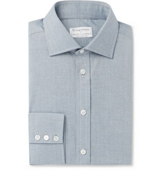 Kingsman + Turnbull & Asser Blue Warwick Cotton-Herringbone Shirt