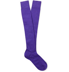 Charvet Ribbed Cashmere, Wool and Silk-Blend Over-The-Calf Socks