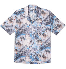 Rhude Camp-Collar Printed Cotton-Poplin Shirt