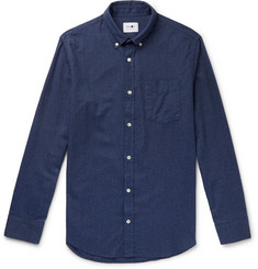 NN07 Levon 5190 Slim-Fit Button-Down Collar Cotton-Flannel Shirt