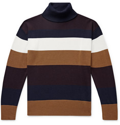 NN07 Eyre Striped Merino Wool-Blend Rollneck Sweater