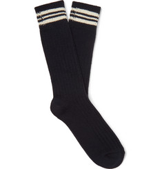NN07 Striped Ribbed Cotton-Blend Socks